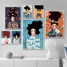 Abstract Girl Hair Flower Vintage Nordic Posters And Prints Fashion Wall Art Canvas Painting Wall Pictures For Living Room Decor abstract girl figure leaves flower boho wall art canvas painting nordic posters and prints wall pictures for living room decor