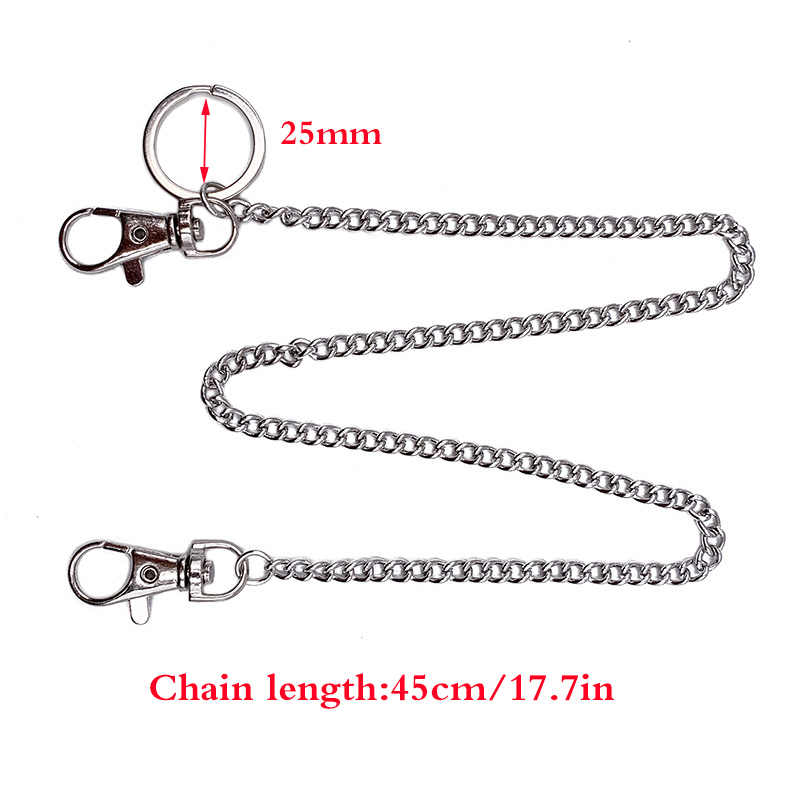 BLA Fashion Punk Hip-hop Pant Chain Belt Waist Rock Jeans Key Chain Wallet Keychain Silver Ring Clip Keyring Trendy Jewelry Z30