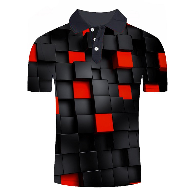 2019 New 3D Plaid Printing Man   Polo   Shirts Geometric Design Male   Polo   Shirts Short Sleeve Streetwear Man Tops Drop Ship