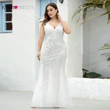 בתוספת גודל שמלות נשף אי פעם די EP07886 בת ים כפול V צוואר נצנצים טול סקסי ערב מסיבת שמלות Vestidos רגוס פיאסטה
