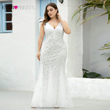 Plus Size Prom Dresses Ever Pretty EP07886 Mermaid Double V Neck Sequined Tulle Sexy Evening Party Gowns Vestidos Largos Fiesta