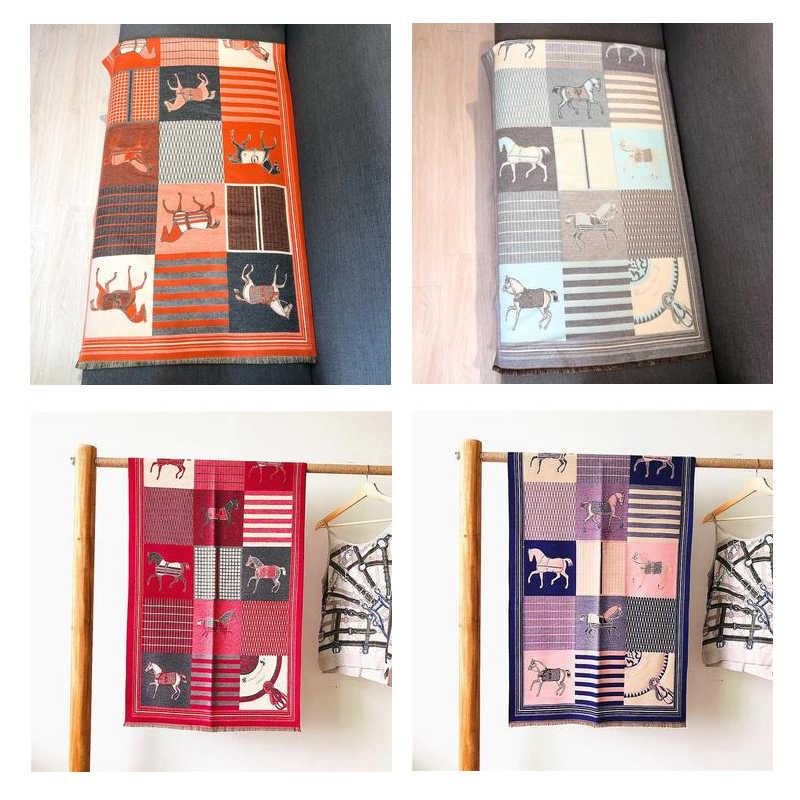 2019 di Modo Sciarpa di Pashmina per Le Donne Animal Print Inverno Cashmere Sciarpe Femminile 185*65 centimetri Scialli e Impacchi Collo sciarpe Per La Signora