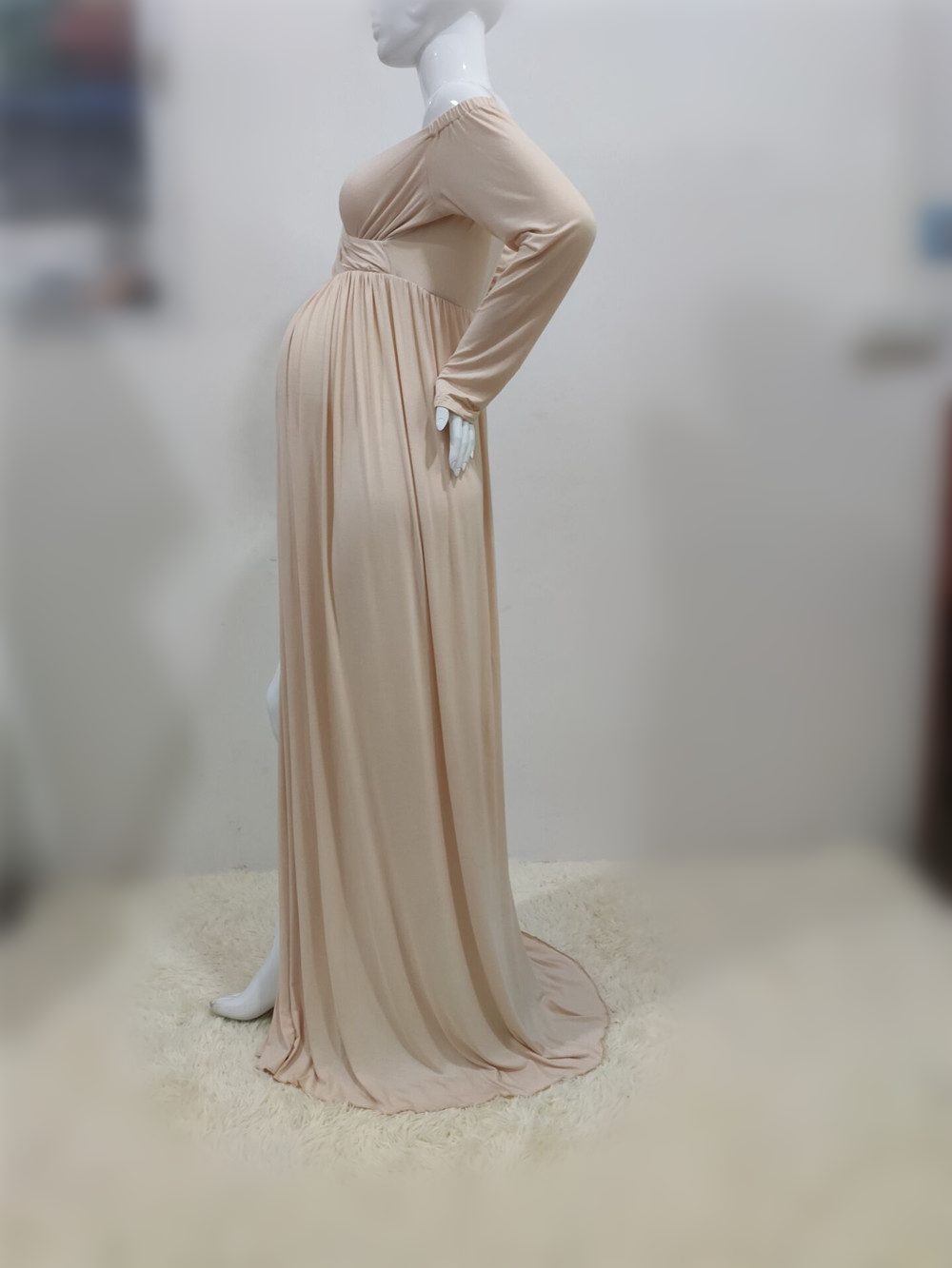 Long Shoulderless Maternity Photography Props Dresses Sexy Split Front Pregnancy Dress Photo Shoot For Pregnant Women Maxi Gown (2)