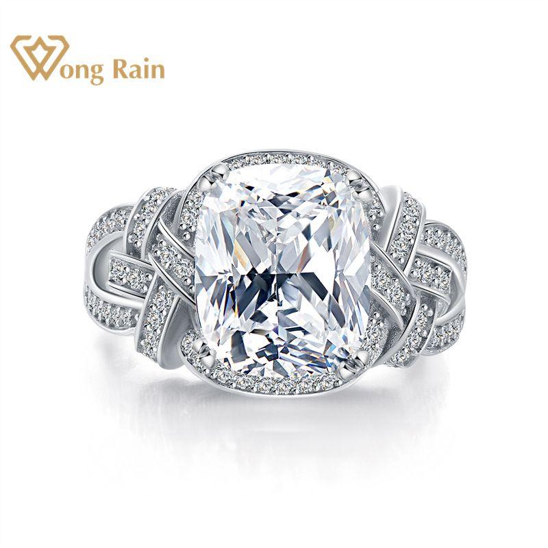 Wong Rain Luxury 100% 925 Sterling Silver Created Moissanite Gemstone Diamonds Wedding Engagement Ring Fine Jewelry Wholesale