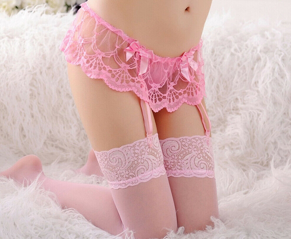 Women Sexy Lace Floral Top Knee High Nylon Suspenders Belt Garter Lingerie Stockings Underwear Thin Solid Stockings