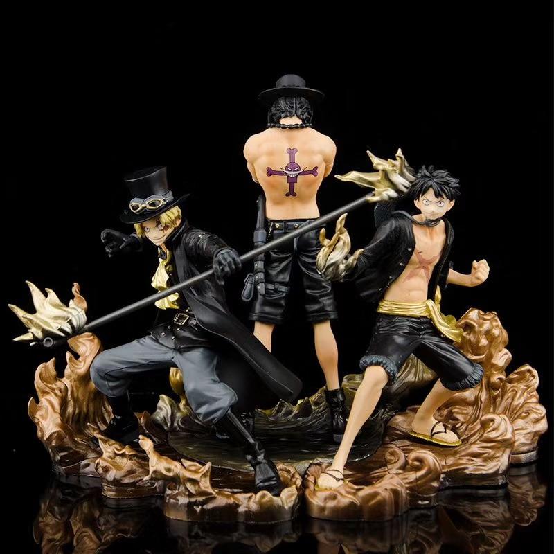 Figuras de acción de One Piece, 3 uds., DXF Brotherhood II, Monkey D Luffy, Portgas D as Sabo, juguetes de modelos coleccionables en PVC