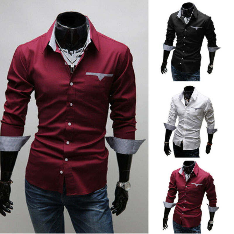 Men s Slim Fit Long Sleeve Shirt Formal Dress Shirts Designer Business Luxury Shirts Regular Solid