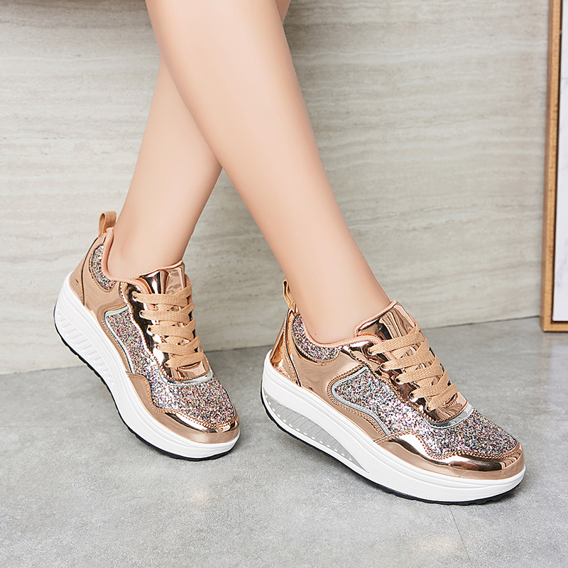 Sequined Cloth Fashion Sneakers Women Casual Shoes 2019 Autumn Winter Round Toe Gold Platform Sneakers Ladies Shoes XU141