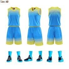 HOWE AO, Мужская баскетбольная форма, набор, мужская тренировочная Джерси, баскетбольный набор, пустые баскетбольные трикотажные баскетбольные шорты для колледжа, на заказ