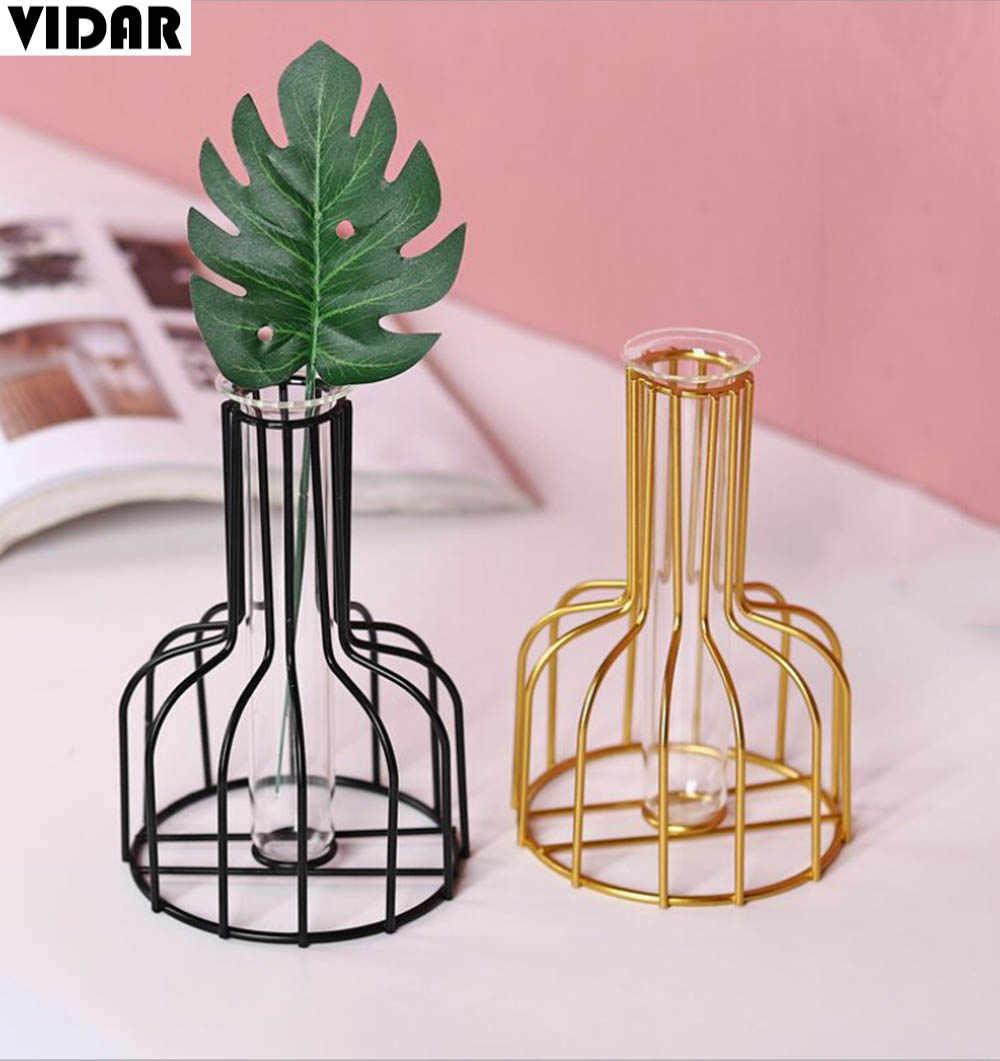 Vidar Nordic Metal Geometric Table Vase Decor Modern Concise Design Style Glass Tube Hydroponic Vase Gold Vases Decoration Home Vases Aliexpress
