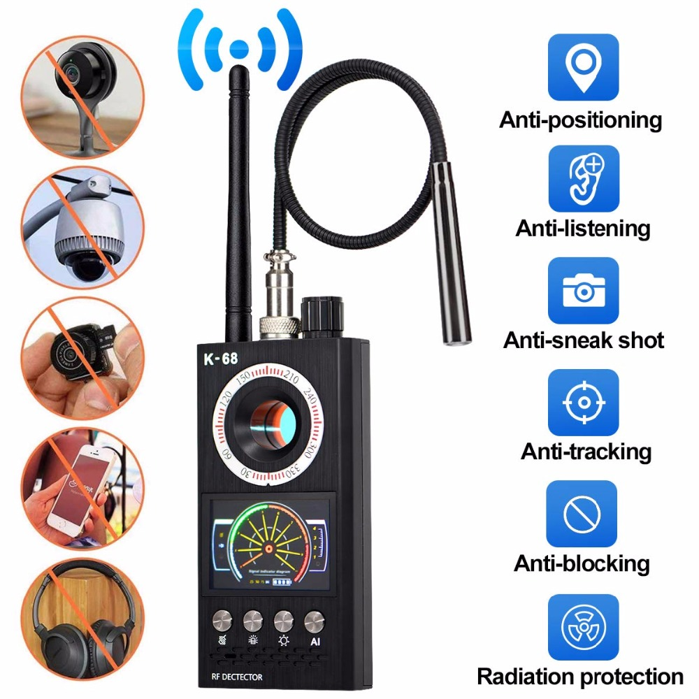 K68 Spy Wiretap Gps Jammer Wireless Hidden Camera Cell Phone GPS RF Signal Detector Finder Wiretap Bug Mini