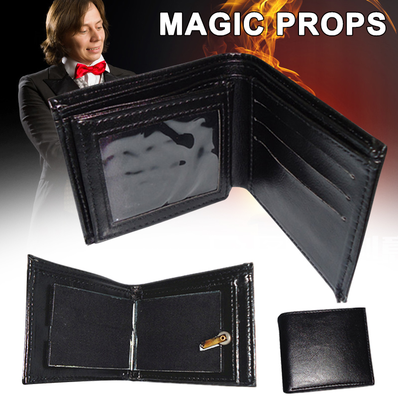 Magic Funny Trick Fire Flaming Wallet Leather Street Show Close Up Magic Props Wallet Purse YJS99