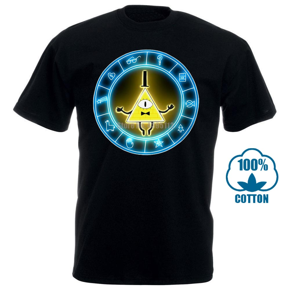 Высококачественная повседневная футболка с принтом аниме, футболка с супер ранером Гравити Фолз, Биллом, шифром, новая волна, черная футбол...