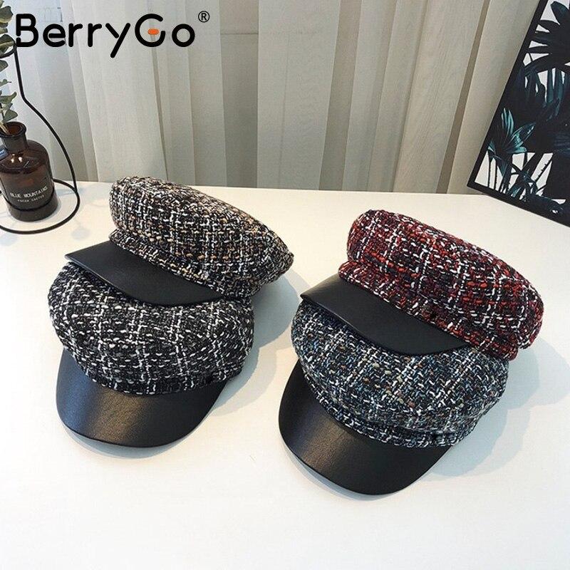 BerryGo Casual Plaid Tweed Military Cap Women Autumn Winter Fashion Beret Hat Female Caps Streetwear Fashion Ladies Painter Hats