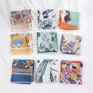 58*58cm Cotton Linen Women Scarves Small Square Scarf Female Thin Headscarf Harajuku Floral Print Neckerchief Decorative Scarf