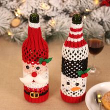 Christmas Santa Claus Snowman Pattern Wine Bottle Covers Festival Dinner Table Champagne Decor Knitted Bags