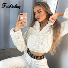 Fitshinling Fuzzy Winter Womens Sweatshirts Zipper Up Turtleneck Cropped Moletom Fashion Streetwear Solid Female Sweatshirt New