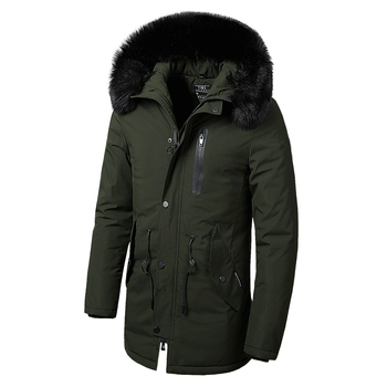 YUSHU Men Winter Long Parkas Jacket With Fur Hood Thick Cotton Warm Winter Coat Waterproof Men Parka Outerwear