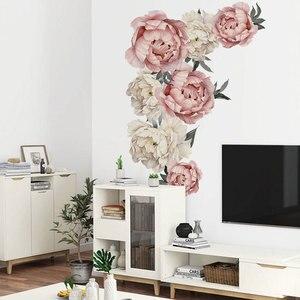 Image 2 - 71.5x102cm 큰 핑크 모란 꽃 벽 스티커 로맨틱 꽃 홈 장식 침실 거실 DIY 비닐 벽 전사 술