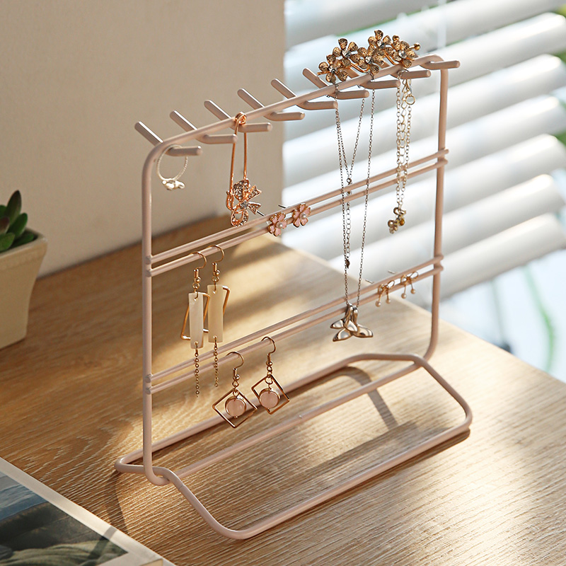 Metal jewelry rack Holder Organizer 3 Tier Pink White Necklace Earring Display Show Rack Home Decorative Shelves