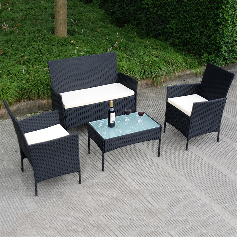 4 Pcs Outdoor Rattan Wicker Cushioned Seat with A Loveset  Patio Table and Chair Furniture HW53485|  -