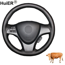 Hand Sewing Car Steering Wheel Cover Top Layer Cow Leather Volant Funda Volante For Suzuki Kizashi 2010 2011 2012 2013 2014 2015