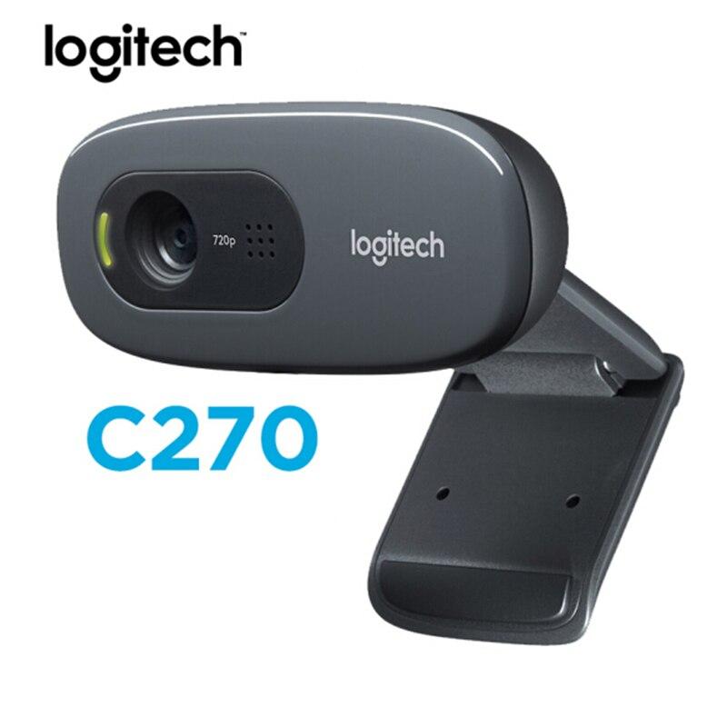 Original Logitech C270/C270i HD Webcam 720p HD Built-in Microphone Web Camera USB2.0 Free Drive Webcam For PC Web Chat Camera