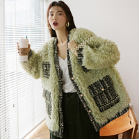 MUMUZI Retro green faux lamb fur coat female thick loose faux sheepskin fur coat winter new parkas with pockets thermal parkas