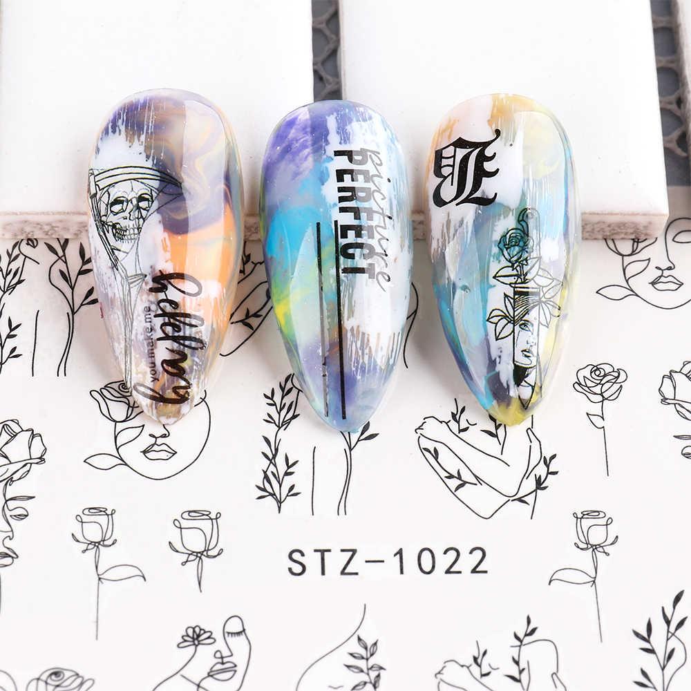 Astratta Della Signora Viso Decalcomanie Del Chiodo di Acqua Nero Foglia Cursori Carta Unghie Artistiche Decor Gel Polish Sticker Manicure Fogli di CHSTZ1018-1033