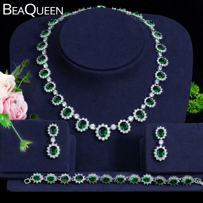 BeaQueen Gorgeous Cubic Zircon Green Drop Earrings Necklace and Bracelet 3pcs Jewelry Set Wedding Bridal Dress Accessories JS057