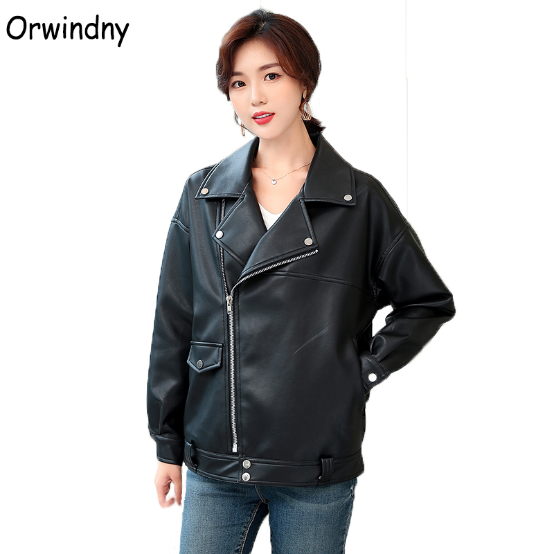 Orwindny BF Style   Leather   Jacket Women Casual Look   Leather   Coat Female Outwear Black Jacket Autumn Winter Soft Motorcycle Jacket
