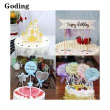 Castillo/lazo/borla/pétalo/amor/varios estilos de pastel Plug-In/papel importado/tarjeta creativa/vestido de pastelería de cumpleaños/fiesta DIY