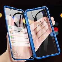360 caixa magnética completa para vivo y85 y50 y30 y19 caso de vidro para vivo y17 y15 y12 caso ímã vidro temperado capa telefone caso