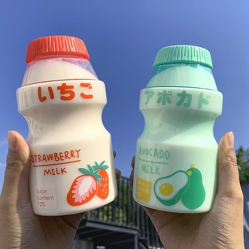 Матовая прозрачная пластиковая бутылка yakulт, симпатичная прозрачная стеклянная бутылка для воды, герметичный диспенсер для напитков, милый...