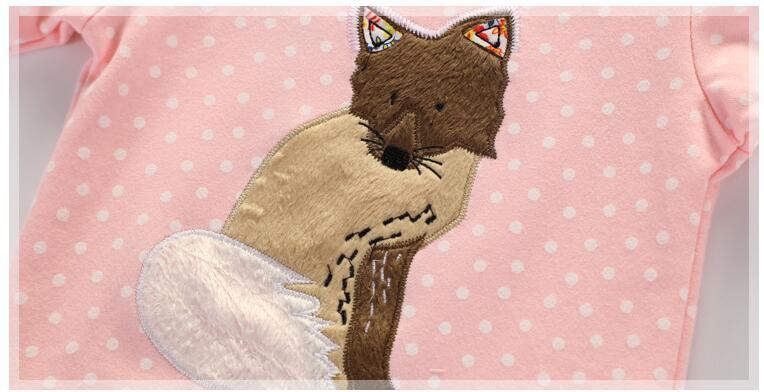 Little maven children brand baby girl clothes autumn new design girls cotton tops pink fox gray print t shirt 3