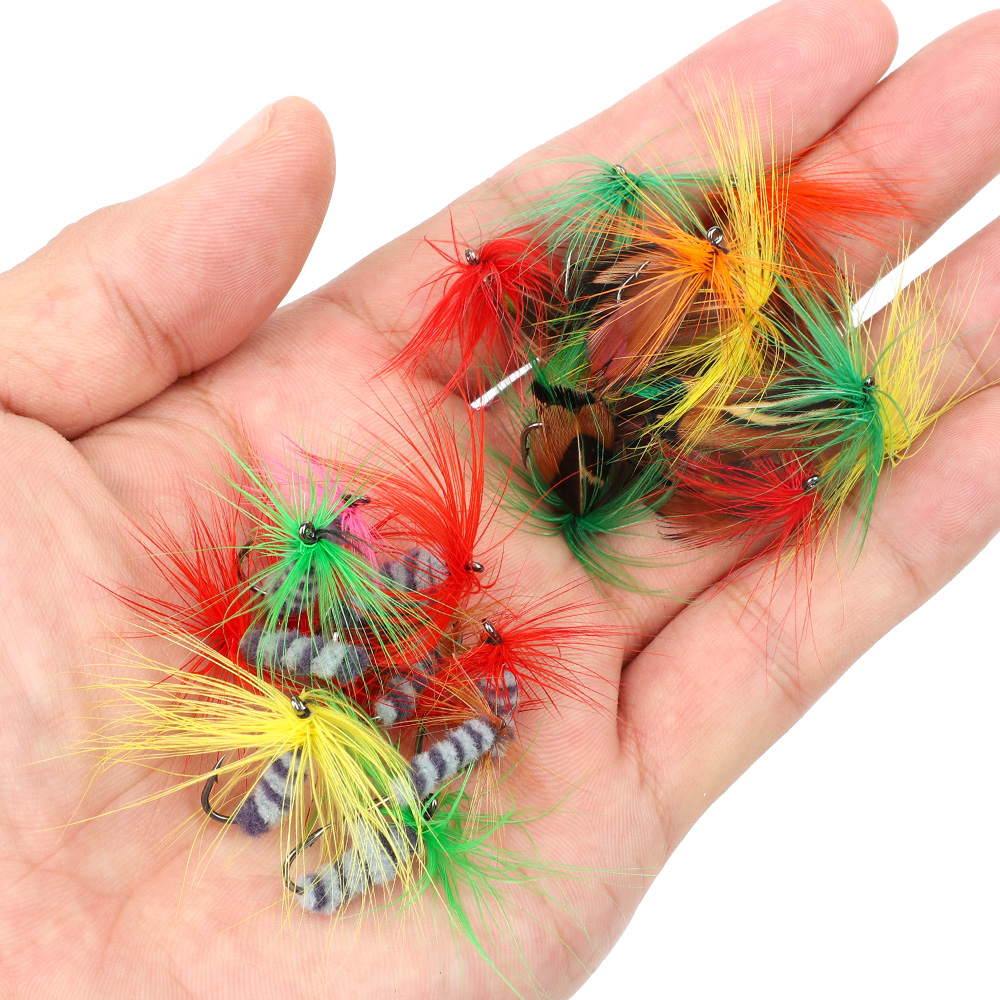 DONQL 10-50pcs Box Insects Flies Fly Fishing Lures Butterfly Trout Dry Fly Fishing Baits With Sharpened Crank Hooks Fish Tackle (4)