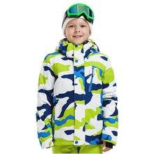Детская Лыжная куртка, зимняя теплая Лыжная куртка с принтом для детей, водонепроницаемая ветрозащитная спортивная одежда, пальто для сноуборда