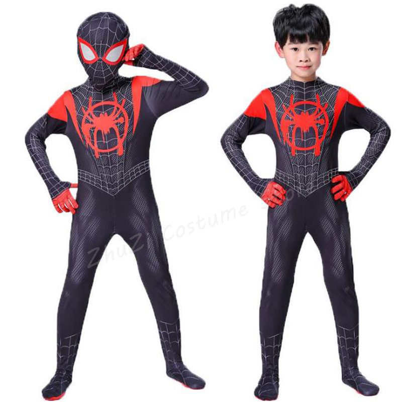 Spiderman Costume Kids 3d Child The Amazing Spider Man Mask Costume Suit Boys Spandex Black Red Halloween Adult Men Cosplay