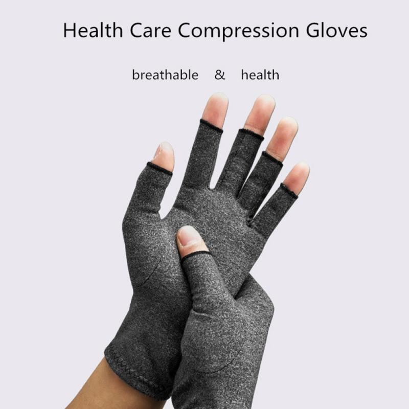 1 Pair Sports Gloves Women Men Cotton Elastic Hand Arthritis Joint Pain Relief Gloves Therapy Open Fingers Compression Gloves