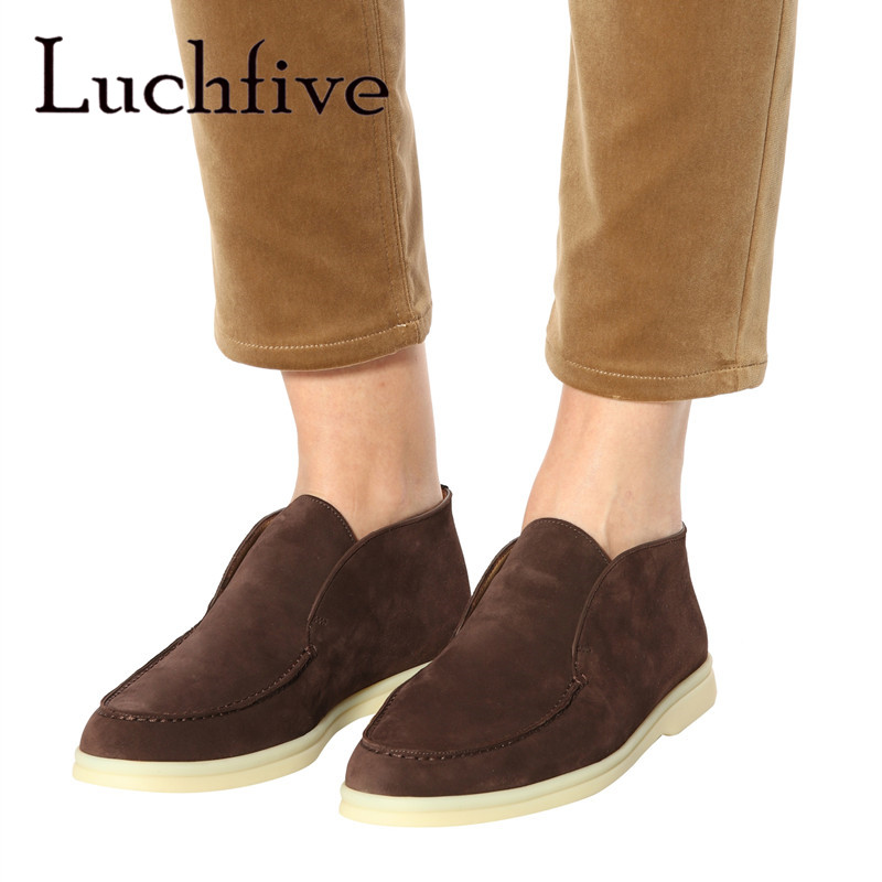 Luchfive High Top Nubuck Leather Loafers Casual Shoes Women Rubber Sole Comfort Driving Shoes Real Leather Flat Shoes Women