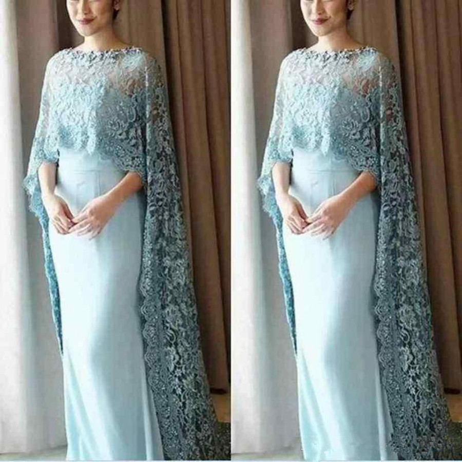 Vintage Mother Of The Bride Dress With Lace Cloak Vestido De Noiva Formal Pageant Wedding Party Dress Wedding Guest Dresses 2019