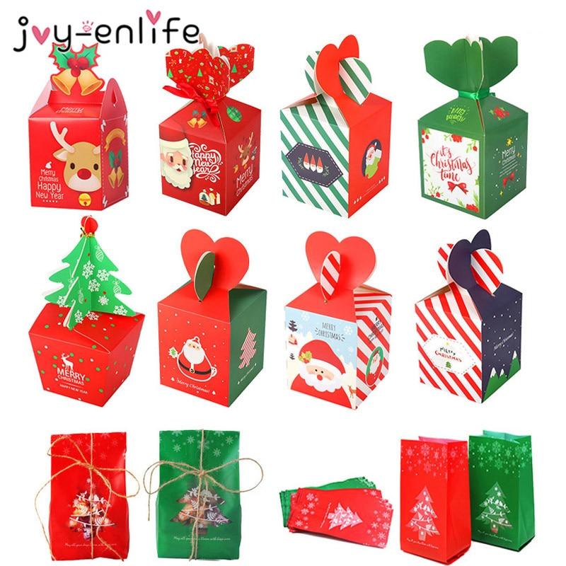 Christmas Gift Box Treat Bags Xmas Decoration Candy Box Noel Christmas Home Decor Package Bag New Year Natal Navidad Party Decor