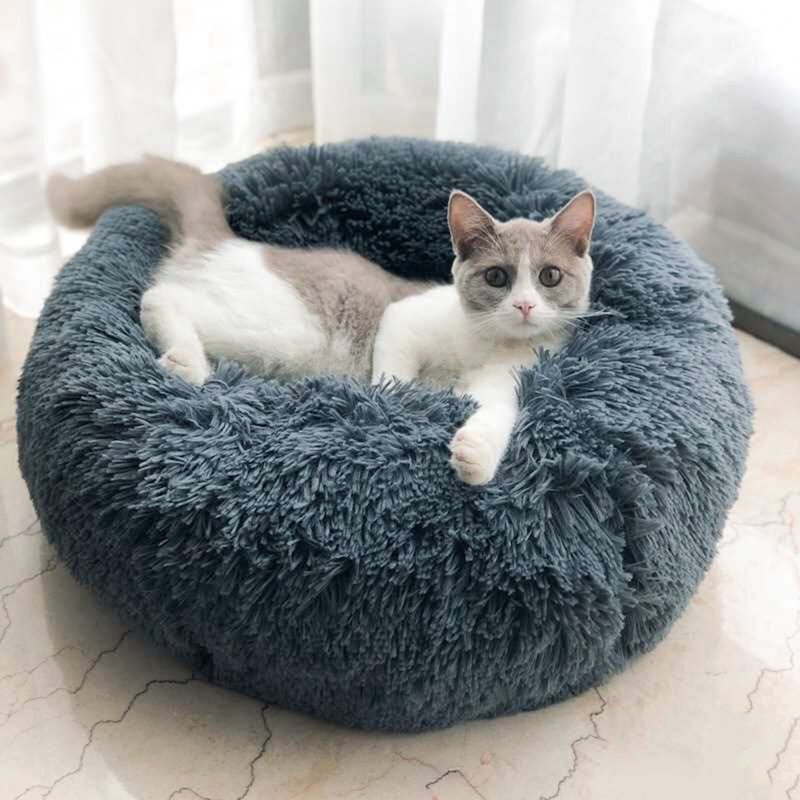 Long Plush Pet Bed Super Soft Kennel Round Pet Dog Bed Winter Warm Sleeping Bag For Cats Nest Winter Warm Sleeping Bed Puppy Mat