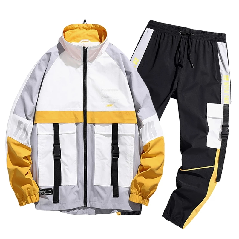 Chándal a cuadros con capucha para hombre, conjunto de 2 piezas reflectante, ropa de calle, Jersey, chándal, novedad de 2021|Conjuntos para hombres| - AliExpress