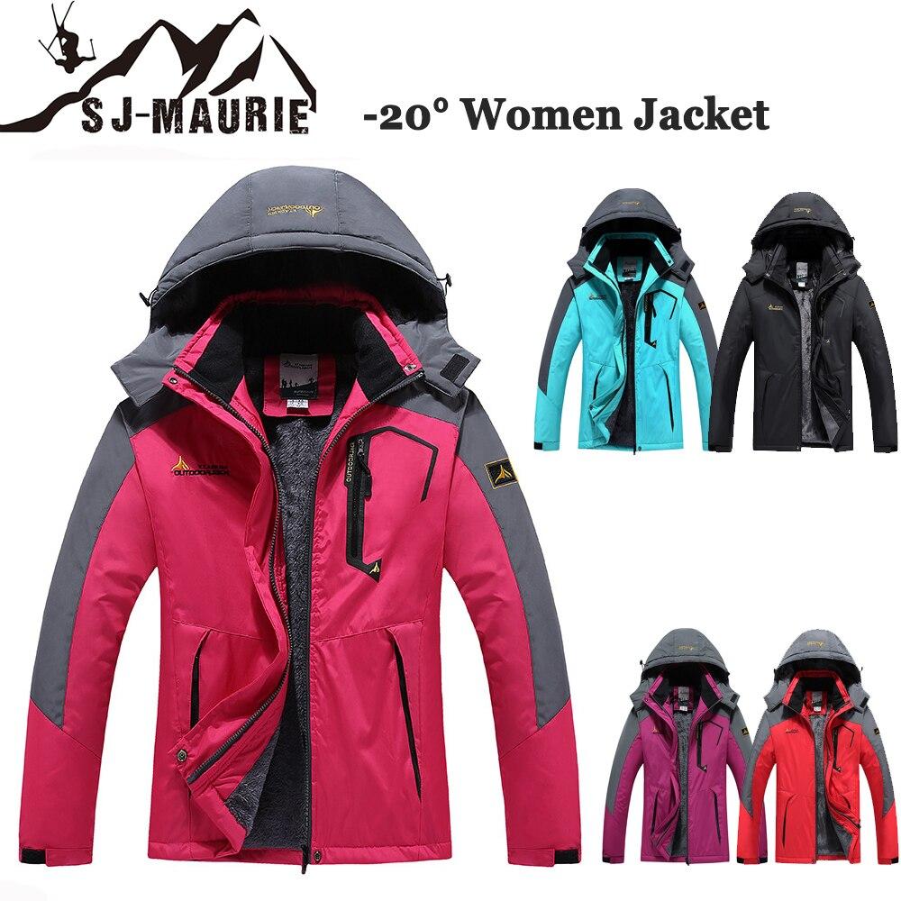 Sj-maurie mulher jaqueta de inverno ao ar livre-30 graus acampamento viagem trekking casaco de pesca blusão escalada caminhadas jaquetas M-3XL