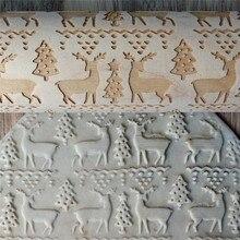 Christmas Embossing  Baking Cookies Biscuit Cake Engraved Roller 35cm*4.3cm Wooden Elk Letters Pattern