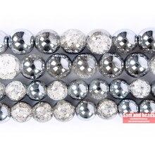 Atacado meia prata banhado a neve branca rachado cristal quartzo grânulos soltos para fazer jóias diy pulseira colar scb20
