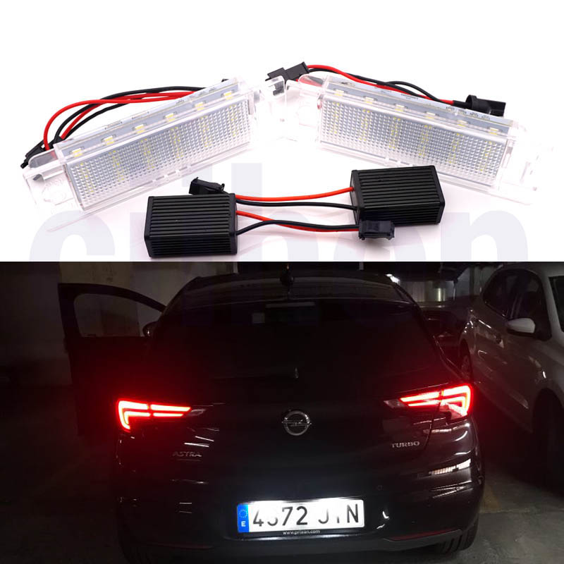2pcs/Set Error Free Car <font><b>LED</b></font> License Plate Lamps Lights Car Exterior Accessories for Opel Meriva <font><b>Astra</b></font> H <font><b>J</b></font> Corsa Insignia Vectra image