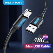Vention Mini cavo USB cavo dati da USB 2.0 a Mini USB caricabatterie rapido per MP3 MP4 GPS fotocamera digitale DVR per auto cavo USB per disco rigido