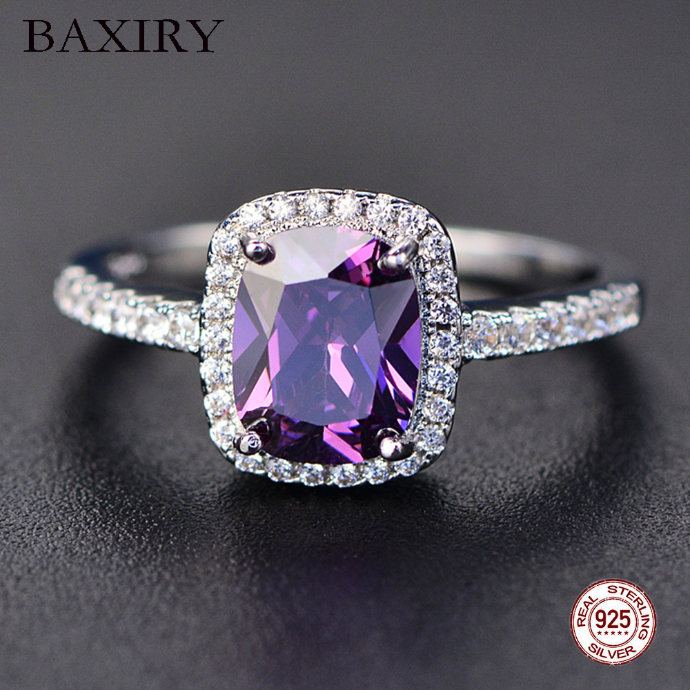 Вечность алмаз кольца для женщин 100% 925 пробы Серебро Белое золото драгоценный камень аметистовое кольцо натуральное Moissanite кольцо